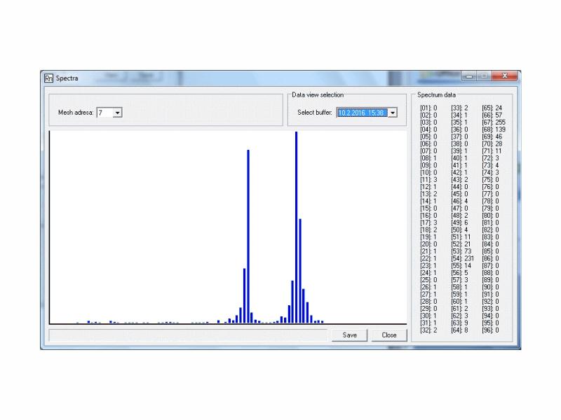 Obrazovka programu TERAview s grafem naměřeného spektra