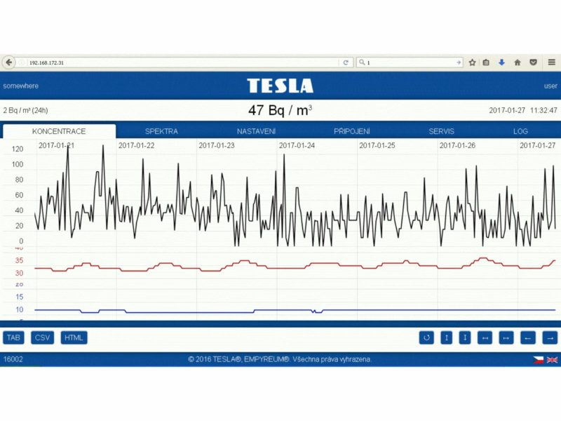 Obrazovka aplikace ethernetové sondy TSRE1