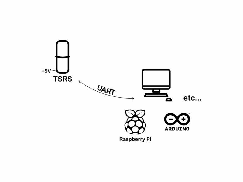 Schématický obrázek zapojení senzoru TSRS (UART)