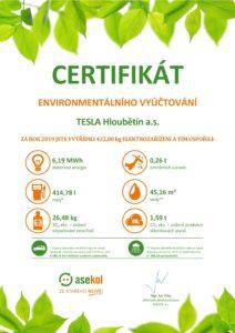 Certifikát enviromentálního vyúčtování za rok 2019 od společnosti Asekol